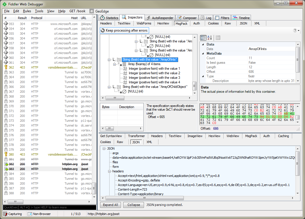Screenshot of the tool integrated into Fiddler